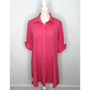 Fridaze Pink Wrinkle Resistant 100% Linen Dress L